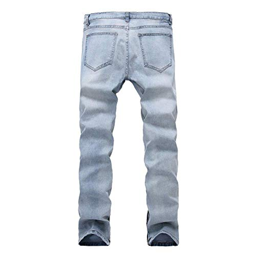 Vaqueros Retro Angustiados Hombres Los del Pantalones Dril Ocasionales Skinny Azul Pantalones De Vaqueros Pantalones Estirados Moda Delgados Recorte La Algodón De De del Mezclilla Rasgados De qww8xSCH