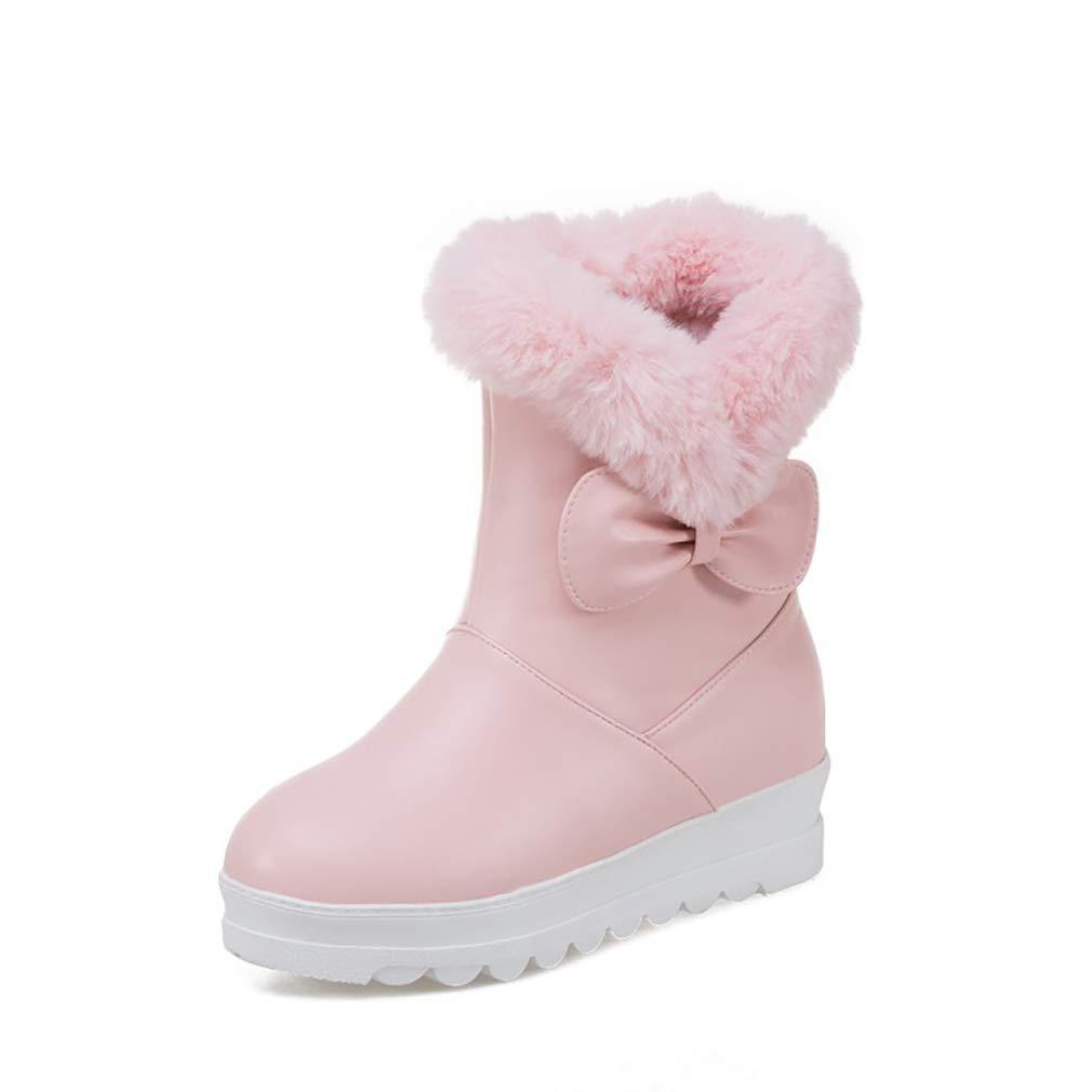 Hy Frauen Schuhe Künstliche PU Dicke Untere Schneeschuhe Stiefel Damen Flache Ferse Stiefelies Große Größe Stiefelies Stiefeletten Im Freien Skifahren Schuhe (Farbe   Rosa Größe   34)