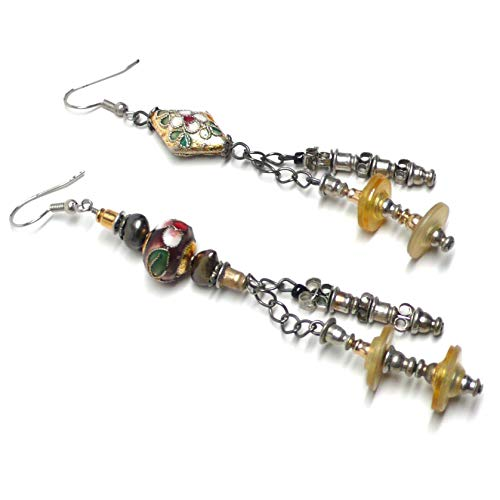 - Asymmetrical Mis-Matched Re-Purposed Earring-Back Cloisonne Earrings OOAK