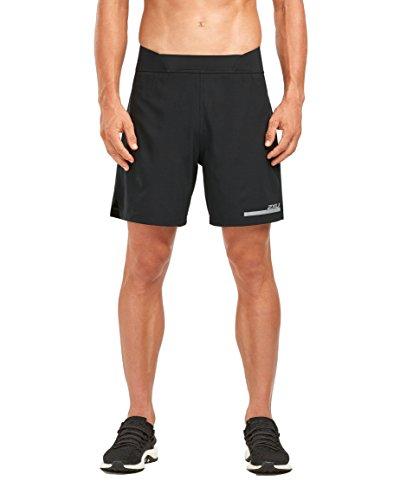 2XU Men's Run 2 in 1 Compression 7 Inch Shorts (Black/Silver, Large)