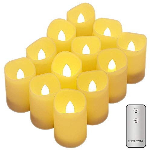 Flameless Candles, Tker LED Votive Candles with Remote, Battery Powered Flickering Realistic Tealights for Seasonal Festival Celebration, Set of 12- Warm White