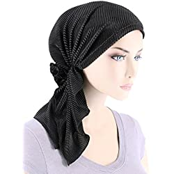 The Bella Scarf Chemo Turban Head Scarves Pre-Tied Bandana for Cancer Plisse Black