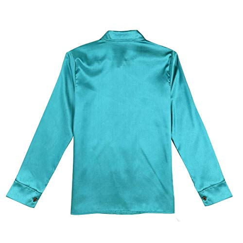 Manches Chemisier Couleur Slim Printemps Elgante Affaires Shirt Tops Chemise Fashion Blouse Femme Satin Blouse Simple Automne Unie Longues Mode Boutonnage Revers Fit Loisir Rouge Chic 8n56xFqBw