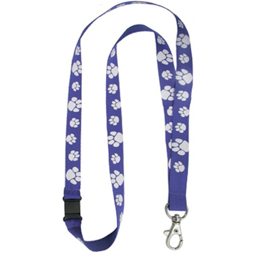 PinMarts Blue and White Paw Print School Mascot Sports Lanyard w/Safety Release by PinMart (Image #1)