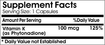 Natural Vitamin K-1 Phytonadione 100mcg ~ 100 Capsules - No Additives ~ Naturetition Supplements