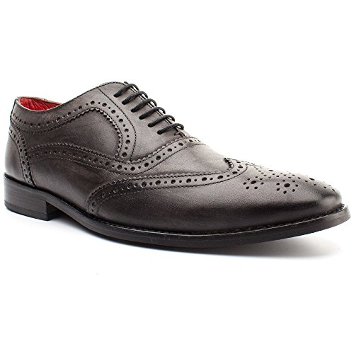 Base London Mens Surrey Casual Everyday Leather Lace Up Shoes Grey