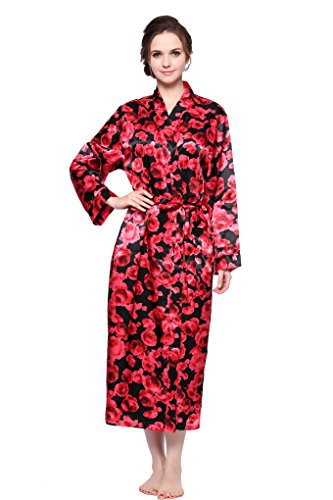 Lavenderi Women's Long Classic Satin Kimono Lounge Bathrobe Robe (X-Large, Red Floral Print)