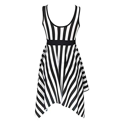 Allywit Womens Stripe Swimdress Bandeau One-Piece Skirt Bathing Suit Swimsuit Black