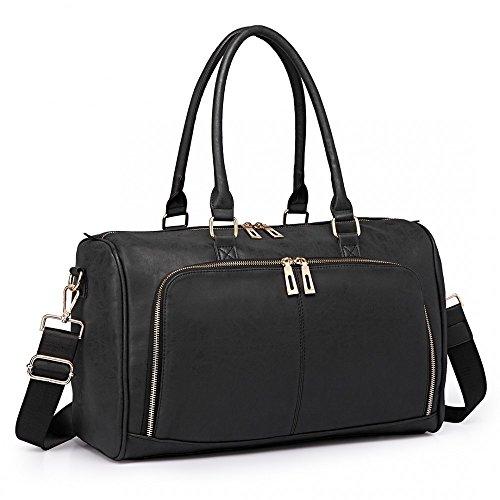 ef536d888ac33 Miss Lulu 3 Pieces Baby Changing Bags Nappy Diaper Bag Multifunctional Maternity  PU Leather Shoulder Handbag Tote Moms Nursing Wet Wipe Clean Bags (Black ...
