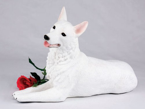 German Shepherd White Cremation Pet Urn for secure installation of your beloved pet's ashes indoors or outdoors by German Shepherd Urn