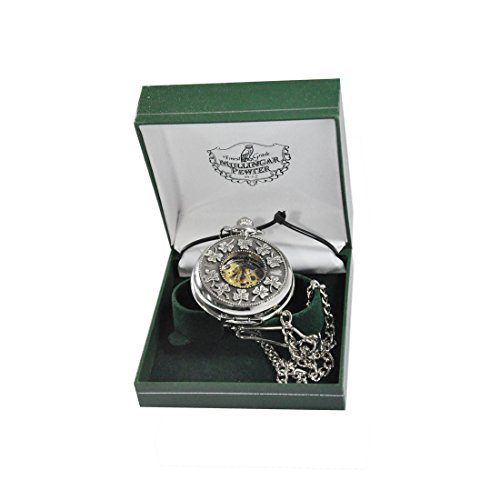 Mullingar Pewter Stainless Steel Pocket Watch With Celtic, Shamrock (Celtic Design Watch)