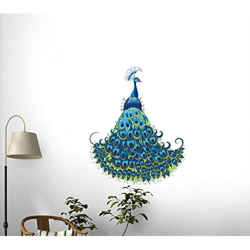 durable service Wallmonkeys WM48262 Peacock Vector Background Peel and Stick Wall Decals (12 in H x 10 in W)