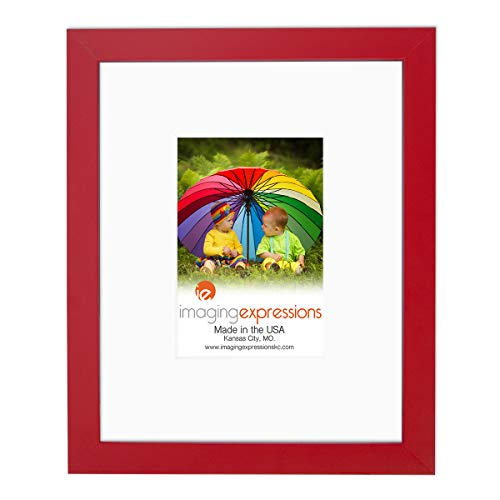 (Imaging Expressions - Red Picture Frame 8x10 - Thick Beveled Mat to Display 4x6 Photos - Wall Hanging or Sturdy Easel for Tabletop Display - Made in The USA (8x10 | 4x6 Image Opening, Red))