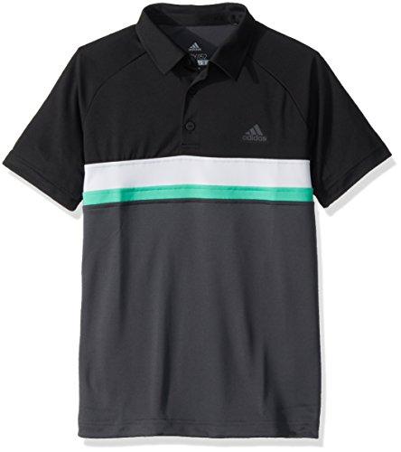 adidas Youth Tennis Boys Club Color Block Polo, Dark Solid Grey, Large