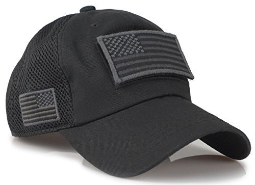 Camouflage Constructed Trucker Special Tactical Operator Forces USA Flag Patch Baseball Cap (Black) (Tactical Hat With Patch)