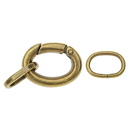 Large Oval Lobster Clasp, with 2 Jump Rings 20x15mm, 1 Set, Antiqued Brass Plated