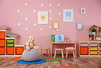 Amazon Com Baocicco Child Care Centre Backdrop 5x3ft Cotton Polyester Photography Background Pink Pastel Room Bear Doll Wooden Stool Colorful Storage Box Wooden Floor Kindergarten Infant Toddler Baby Shower Camera