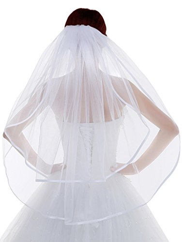 Edith qi Women's 2 Tiers Bridal Veil Ribbon Edge Waist Length With Comb