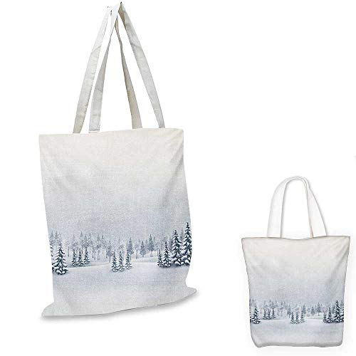 (Winter canvas messenger bag Winter Scene in a Park with Trees Foggy Misty Blurry Ice Cold Freezing Weather Image canvas beach bag White. 12