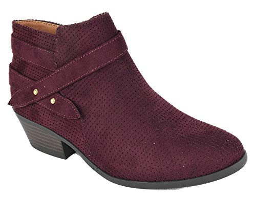 SODA Women Small Short Heel Ankle Boots Buckled Booties Side