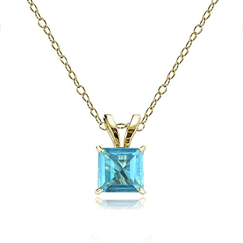 Swiss Cut Yellow Pendant (Bria Lou 14k Yellow Gold Swiss Blue Topaz Gemstone 5mm Square-Cut Solitaire Pendant Necklace, 18