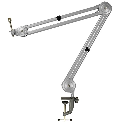 Knox Boom Microphone Stand - Adjustable Scissor Arm Suspension Mic Holder - Table Mount, Durable Steel, 360° Rotation, 30