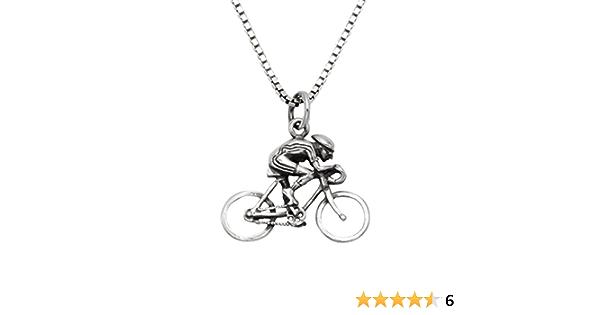 Cycling figure amazing miniature pendant racing bike. sterling silver