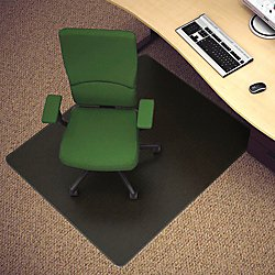 Deflecto EconoMat Black Chair Mat, Hard Floor Use, Rectangle, Straight Edge, 46 x 60 Inches (CM21442FBLK) by Deflecto
