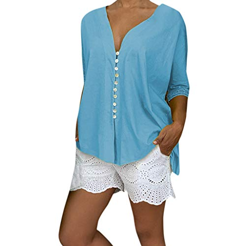 TIFENNY Plus Size Loose Tops for Women Fashion Summer Deep V Neck Solid Long Sleeve Buttoned Blouse Shirt Top Light Blue