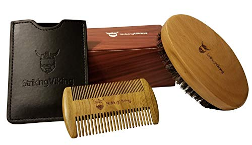 Beard Grooming Kit for Men by Striking Viking - All Natural Wooden Boar Bristle Brush and Dual-Action Anti-Static Sandalwood Comb w/Case - Style & Groom Beard Hair and Mustache - Men's Gift Set