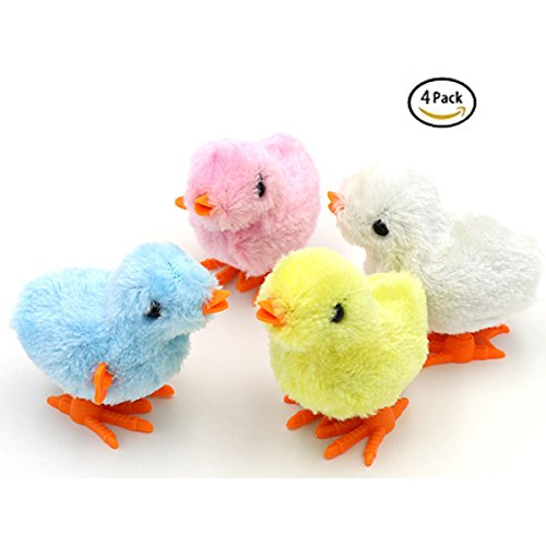 4 Pcs Wind-Up Jumping Chicken Ducklings Party