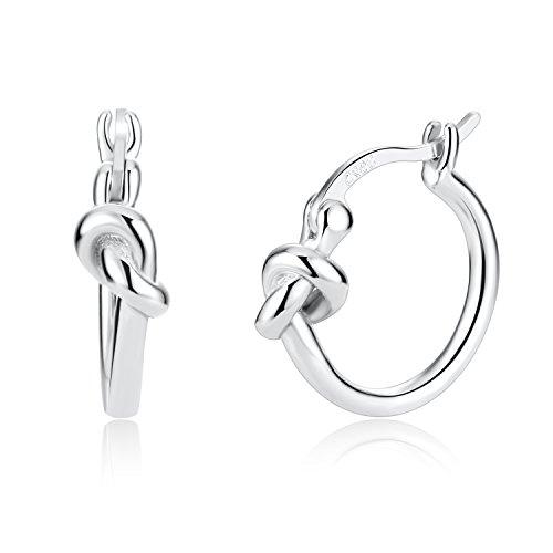 Love Knot Celtic 925 Sterling Silver Minimalist Hoop Clip Top Earrings