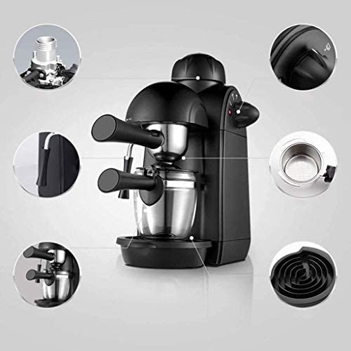 L-WSWS Machine à expresso Cafetière expresso 5bar Machine à espresso et cappuccino Maker Fouets à lait Espresso avec vapeur noir Cafetières