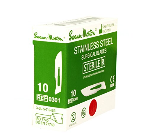 Swann Morton No.10 STAINLESS STEEL Scalpel Blades - Box of 100 - New Dated 2022 - STERILE 10 Pack Scalpel Blades