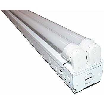 8 ft led industrial retail flush mount 4 light t8 fixture w 4x 24w led tubes. Black Bedroom Furniture Sets. Home Design Ideas