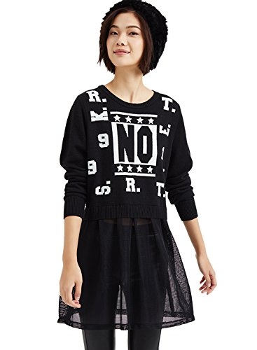 meters-bonwe-women-fake-2-piece-mesh-panel-pullover-dress-black-s