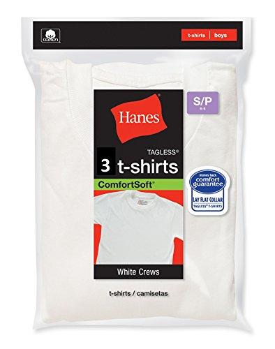 Hanes ComfortSoft® Tagless® Boys' Crewneck T-Shirt 3-Pack, XS-White