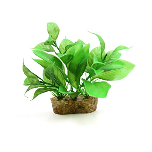 (uxcell Green Plastic Mini Plant Terrarium Reptiles Habitat Decor Household Ornament w Stand)