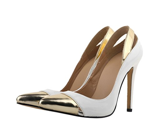Women's Fashion Sexy Pointed Toe Splice Joint Slip On High Heeled Pumps Court Dress Shoes White Patent PU J9uoTb