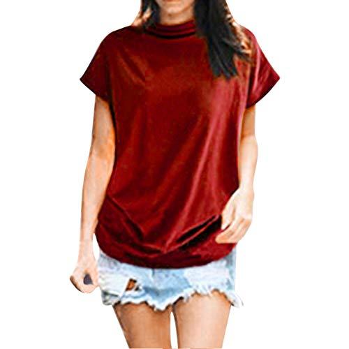 New in Summer Haalife◕‿Women Turtleneck Short Sleeve Top Fashion Irregular Blouse T Shirt Casual Oversize Tunic Tops Watermelon Red