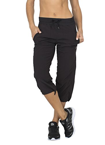 Pants Cargo Capri (RBX Active Women's Lightweight Body Skimming Drawstring Zumba Pant,Large,Black)