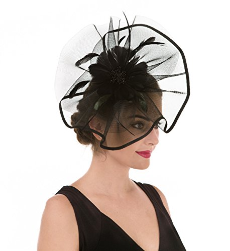 SAFERIN Fascinator Hat Feather Bridal Mesh Net Veil Wedding Cocktail Party Hat Flower Derby Hat with Clip and Hairband for Women (TA1-Large Size Black Feather Mesh)