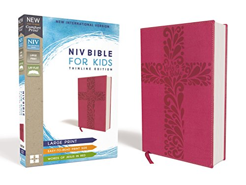 (NIV, Bible for Kids, Large Print, Leathersoft, Pink, Red Letter Edition, Comfort Print: Thinline Edition)