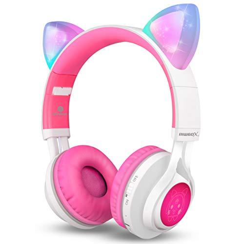Bluetooth Headphones, Riwbox CT-7 Cat Ear LED Light Up Wireless Foldable...