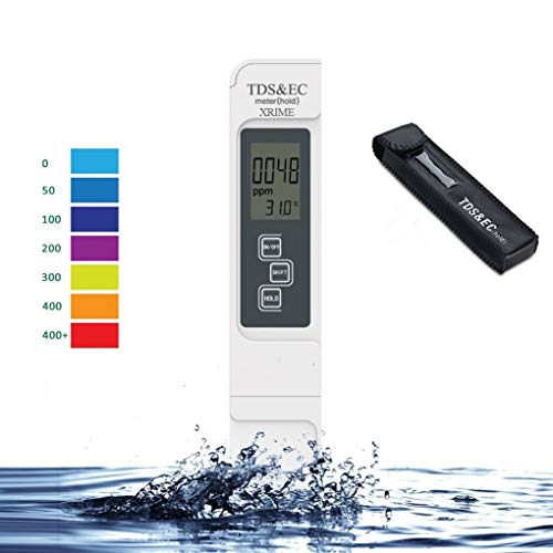 Digital TDS 3-in-1 EC&Temperature Meter Ideal Water Quality Tester,Accurate Professional Tester Kit with Leather Carrying Case,0-9999ppm,for Drink Water,Aquariums,Hydroponics,Ro System (in Battery) ()