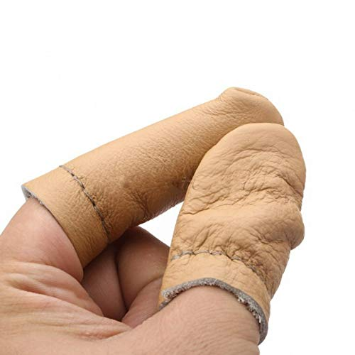 ZHONGJIUYUAN 5 Pairs Thumb Index Thimble Finger Protector Finger Cots Leather Needle Felting Guard Hand Craft Embroidery Needlework Accessor (Random Color) (Polishing Finger Leather Guards)