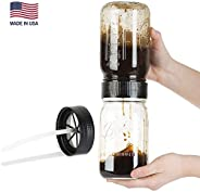 BRUW Cold Brew Iced Coffee Maker for Wide Mouth Mason Jars – Without Coffee Brewing Mason Jar - BPA Free - Made in the USA
