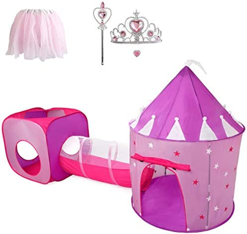 Gift for Girls Princess Tent with Tunnel Kids Castle Playhouse & Princess Dress up Pop Up Play Tent Set Toddlers Toy Birthday Gift Present for Age 3 4 5 6 7 Years Glow in The Dark Stars Indoor