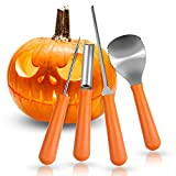 Halloween Pumpkin Carving Kit, Herwiss Stainless Steel Carving Tools Set with 10 Pumpkin Stencils DIY Halloween Jack-O-Lantern for Pumpkin Party Decorations (4 Pcs Ultimate Professional Tools)
