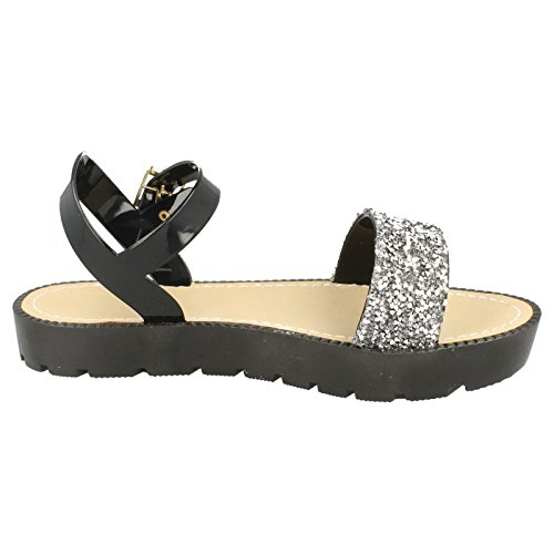 Ladies Flatform Glitter Sandal Pewter (Black) XekhKfIon